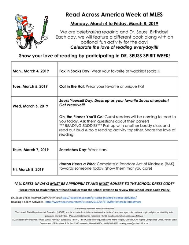 Read Across America Spirit Week-March 4th-March 8th (CLICK HERE TO DOWNLOAD FLYER) Thumbnail Image