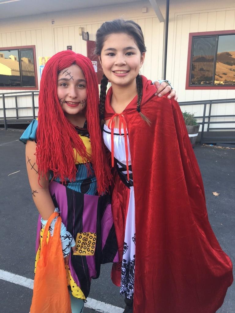 children dressed as little red riding hood girl jack skeleton
