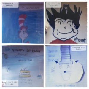 4 Students' Dr. Seuss drawings