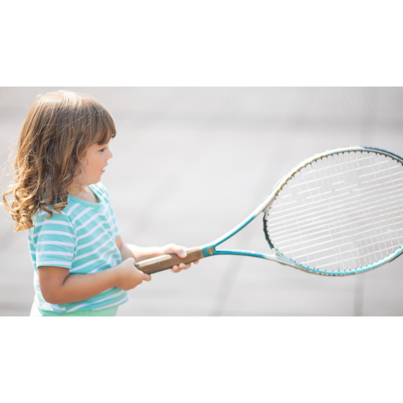 tennis racket and girl holding it