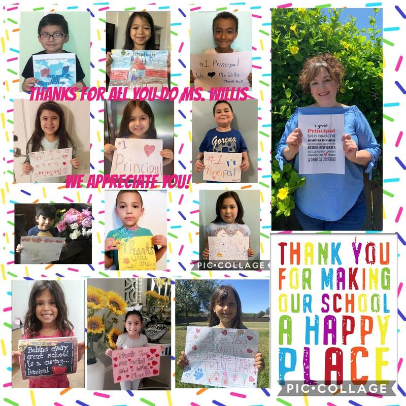 collage of students thanking principal