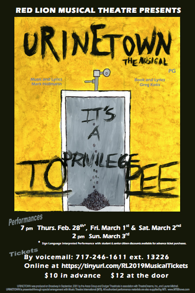 Red Lion Musical Theatre 2019 present Urinetown The Musical