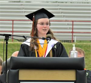 Megan Chinavare gives the senior class address.