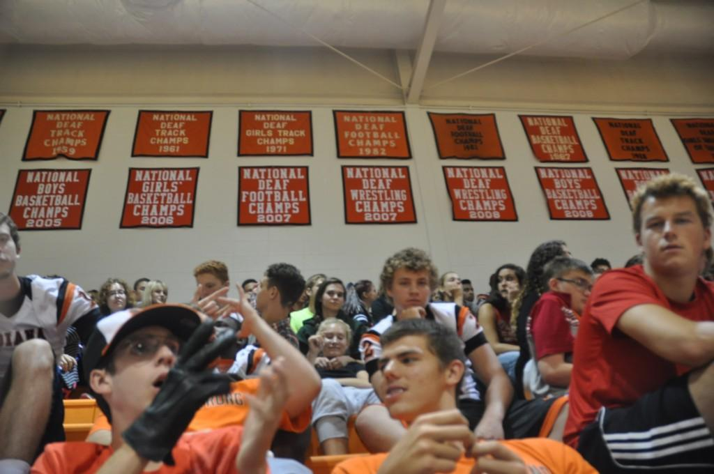 Students in stands in ISD gym