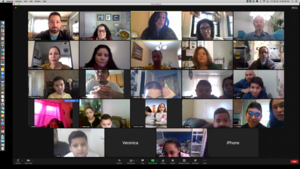Teachers and students with parents on zoom