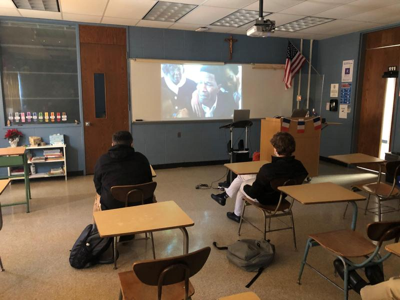Xavier students watch the film