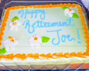 Closeup of the retirement cake.