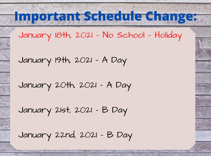 Jan 18th - 22nd Schedule