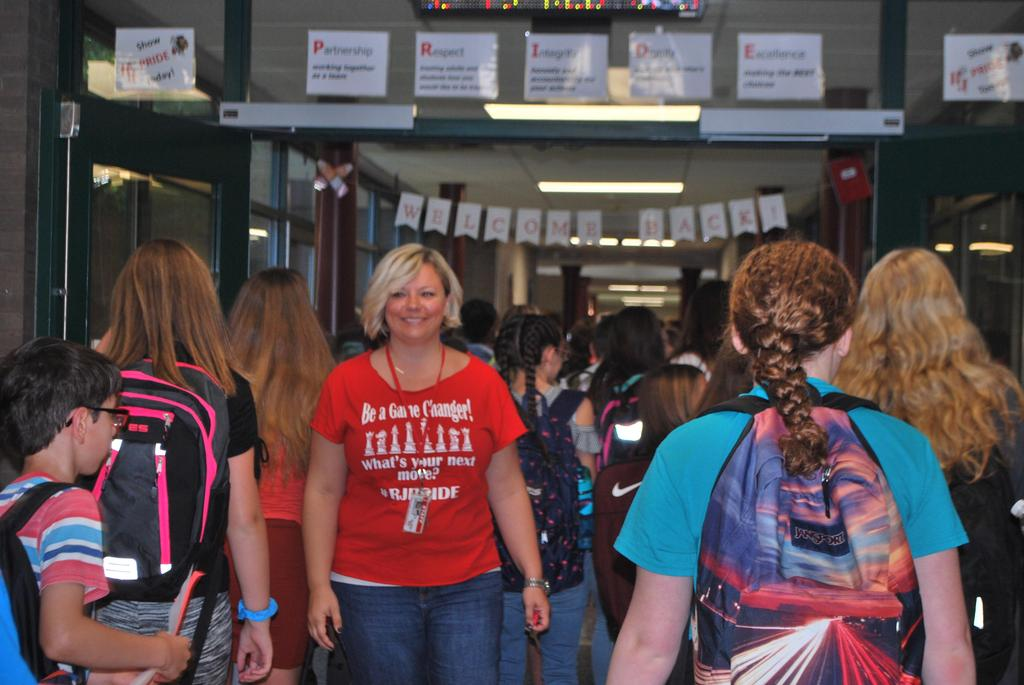 Principal Hall welcoming students on day one