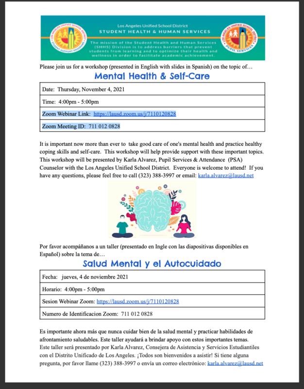 Workshop/Taller Mental Health & Self-Care/Salud Mental y el Autocuidado Date: Thursday, November 4, 2021 Time: 4:00pm - 5:00pm Fecha: jueves, 4 de noviembre 2021 Horario: 4:00pm - 5:00pm Featured Photo
