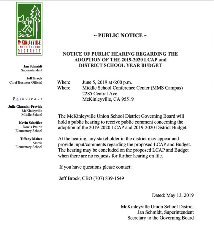 Notice of Public Hearing Re: Adoption of 2019-2020 LCAP and District Budget