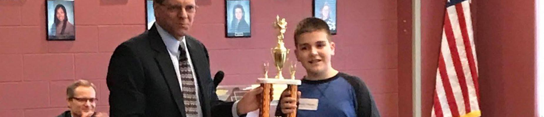 Brady Hughes wins Cass County Spelling Bee