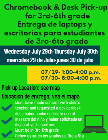 Chromebook & Desk pick up 3rd-6th grade students/Entrega de laptops y escritorios para estudiantes de 3ro a 6to grado Featured Photo