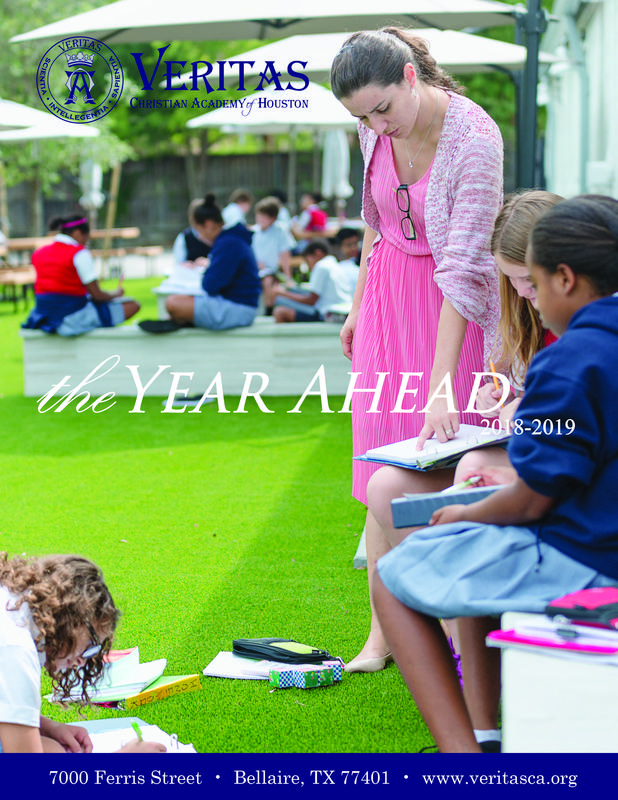 Year Ahead Cover, teacher with students on the outdoor space