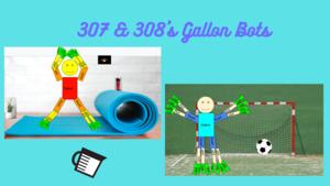Gallon bots playing soccer and doing yoga