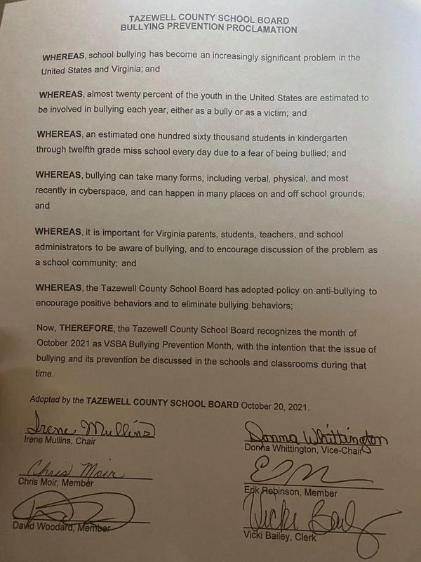 bullying proclamation