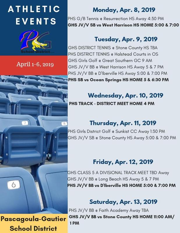 Athletic Events for Week of April 8, 2019