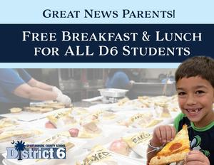 Free Meals for All District Six Students through Dec, 31 or until funding runs out.