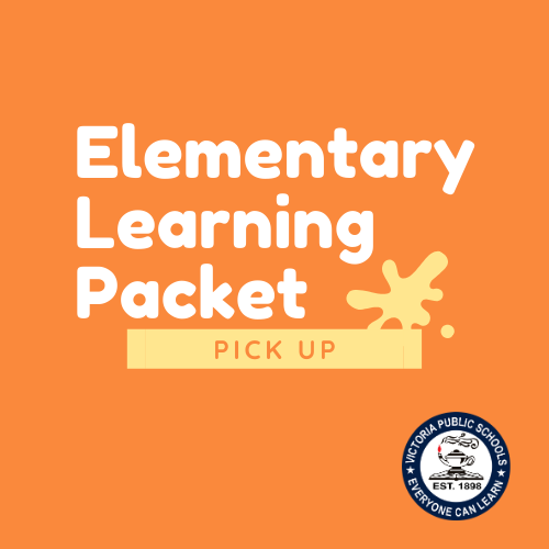 Elementary learning packet pickup with VISD logo and orange background