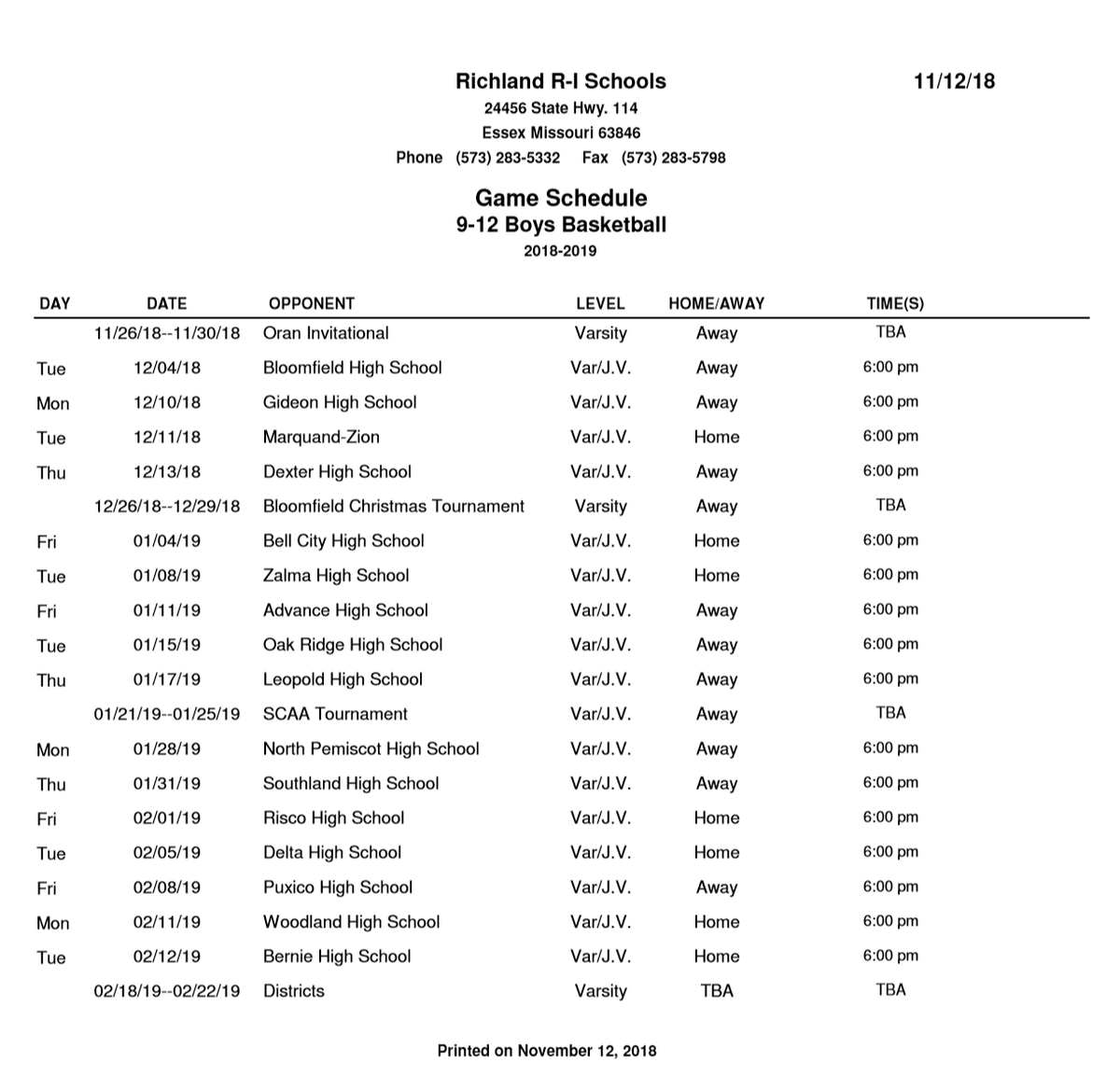 2018-2019 Boys Basketball Schedule