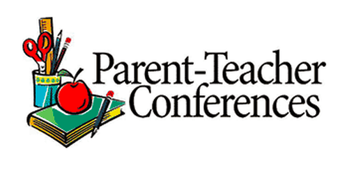 the words parent teacher conference written big with school supplies on the side