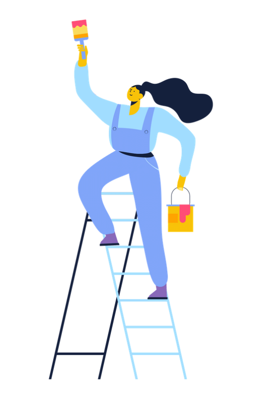 Woman in overalls with a ponytail who is standing at the top of a ladder with a paintbrush and a bucket of paint.