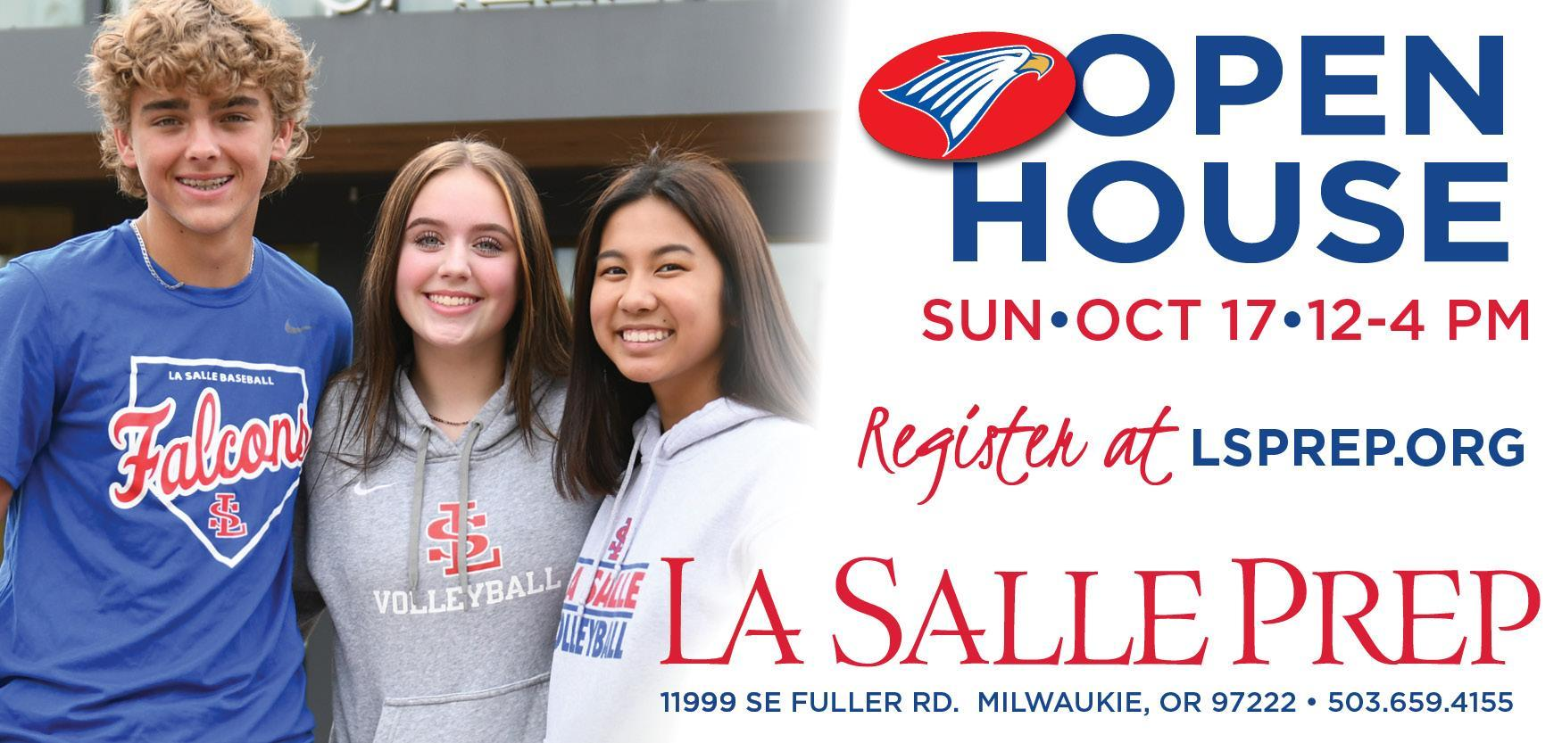 open house graphic with smiling students