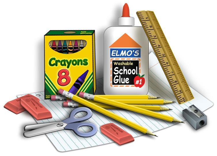 General school supplies grouped  such as crayons, glue, pencils, scissors, and erasers.