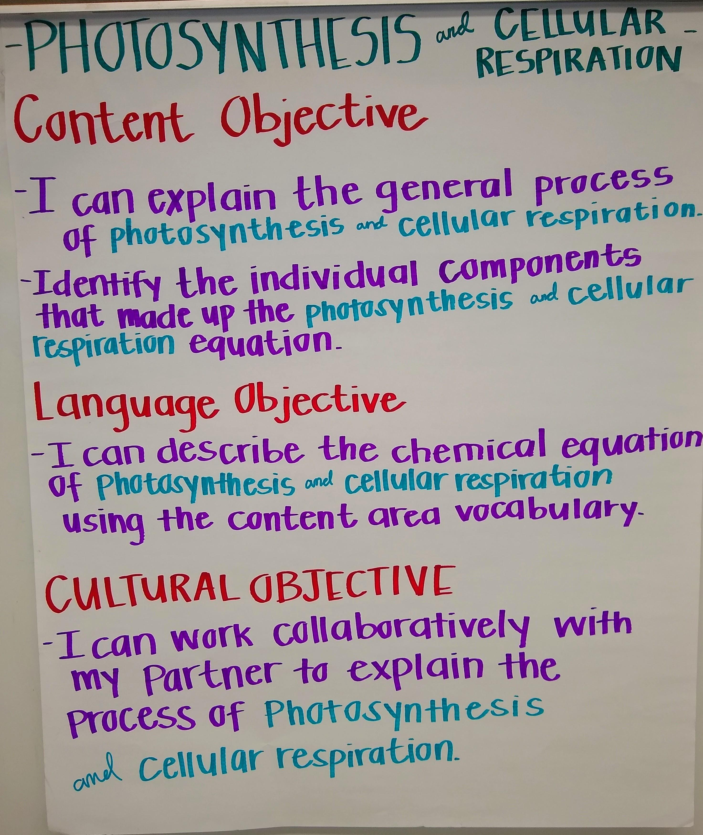 Photosynthesis content and language objectives