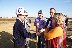 students at breaking ground