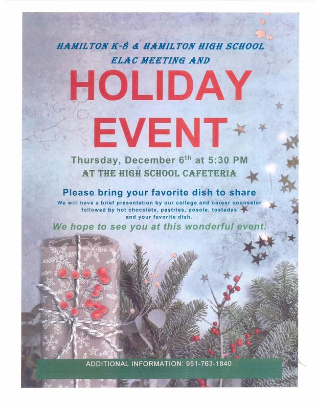 Hamilton K-8 ELAC Mtg. & Holiday Event Flyer