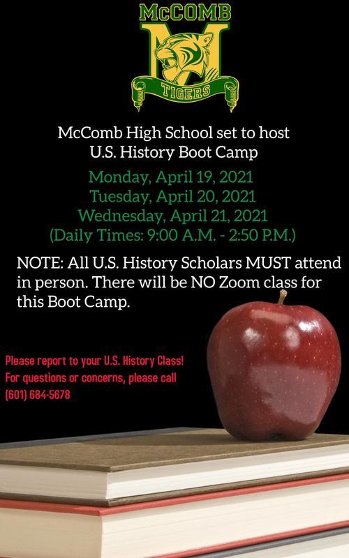 McComb High School set to host U.S. History Boot Camp 2021