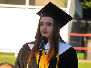 TKHS Senior Valerie McNamara addresses the class.