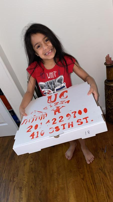A.C. With her winning Pizza prize