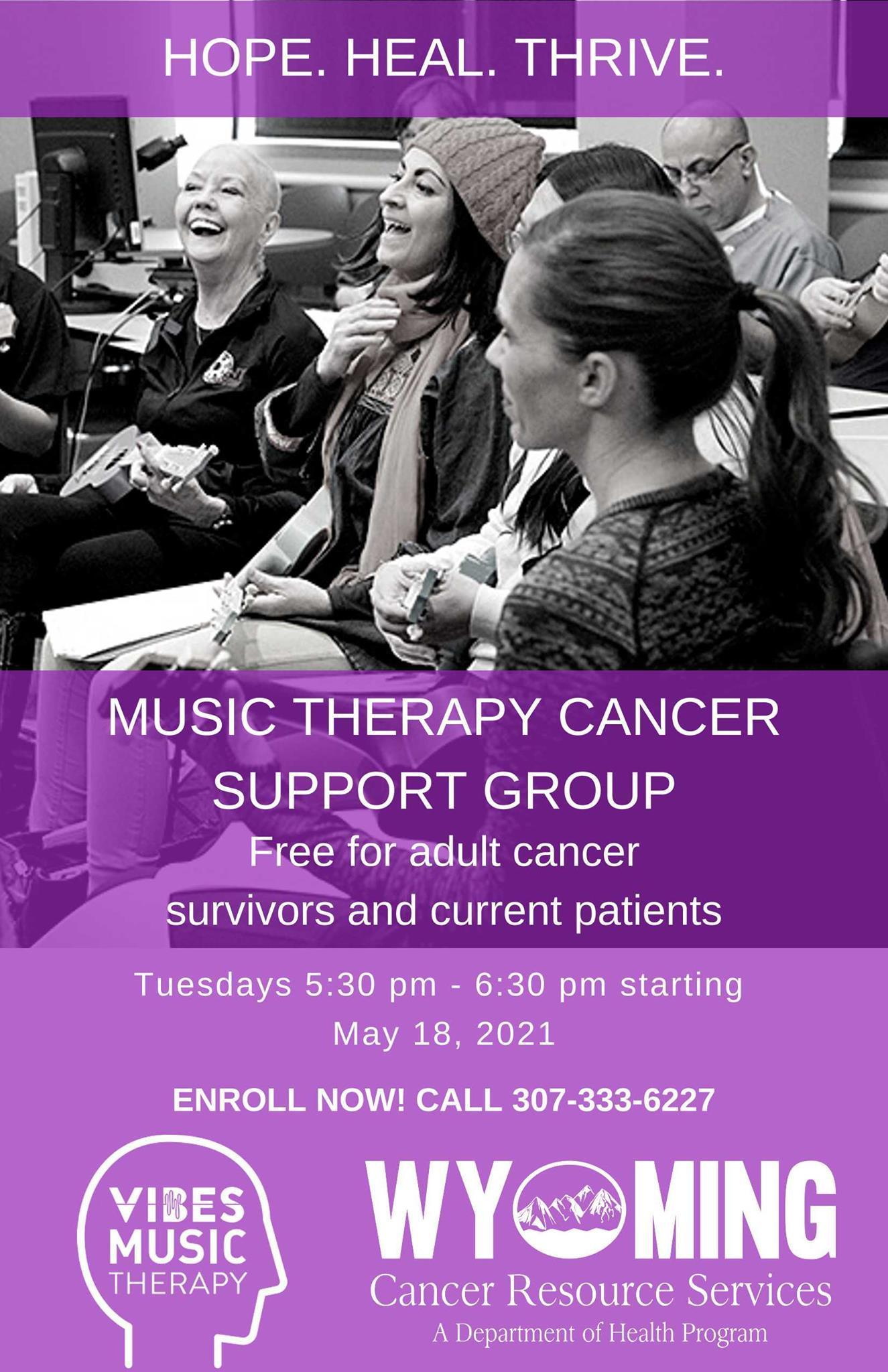 Music Therapy Cancer Support group flyer
