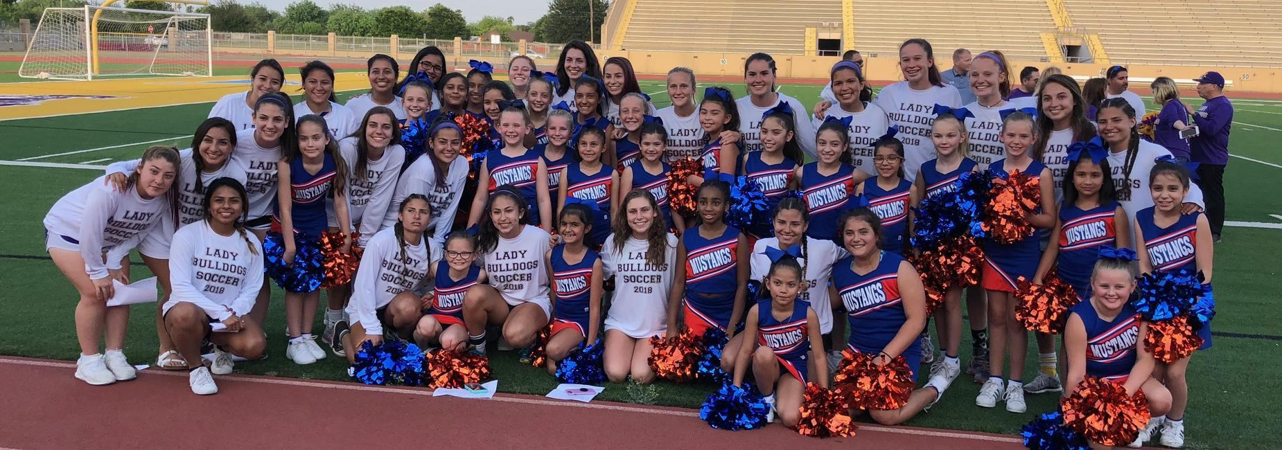Lady Bulldog Soccer Team and Milam Cheer