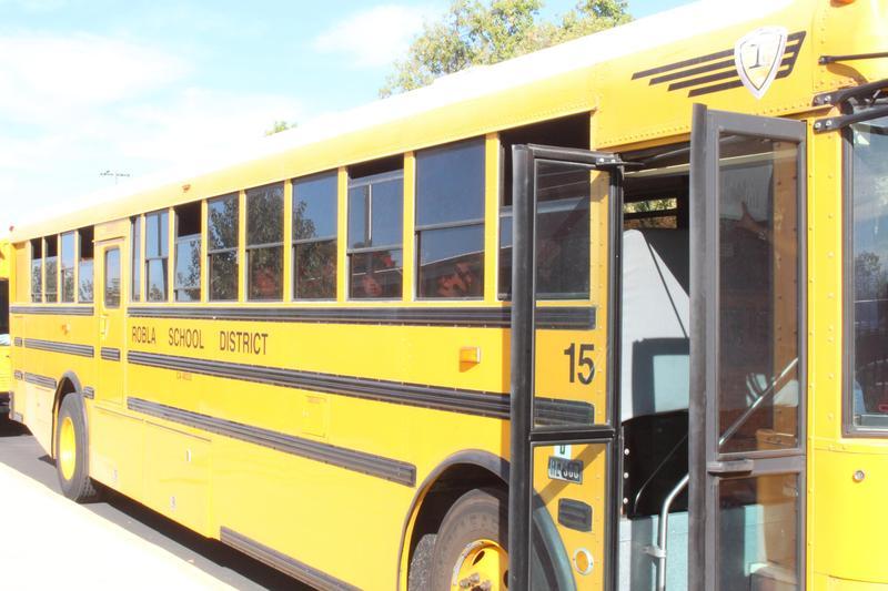 School bus with door open