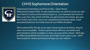 CHHS Sophomore Picture Day August 11th