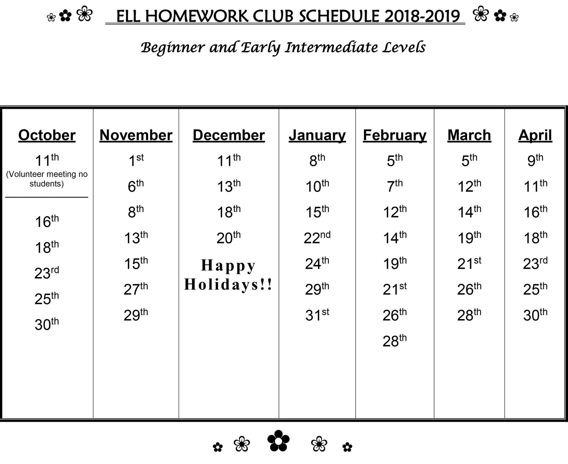 ELD Homework Club Schedule