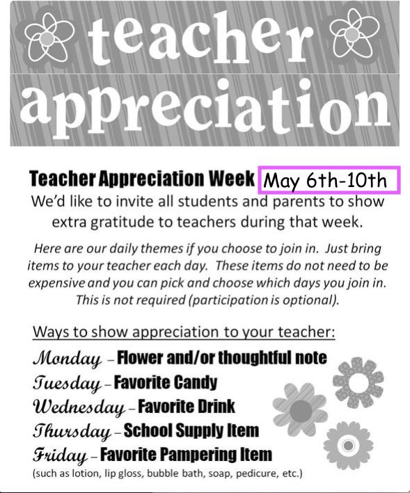 Clip art of Teacher Appreciation Week