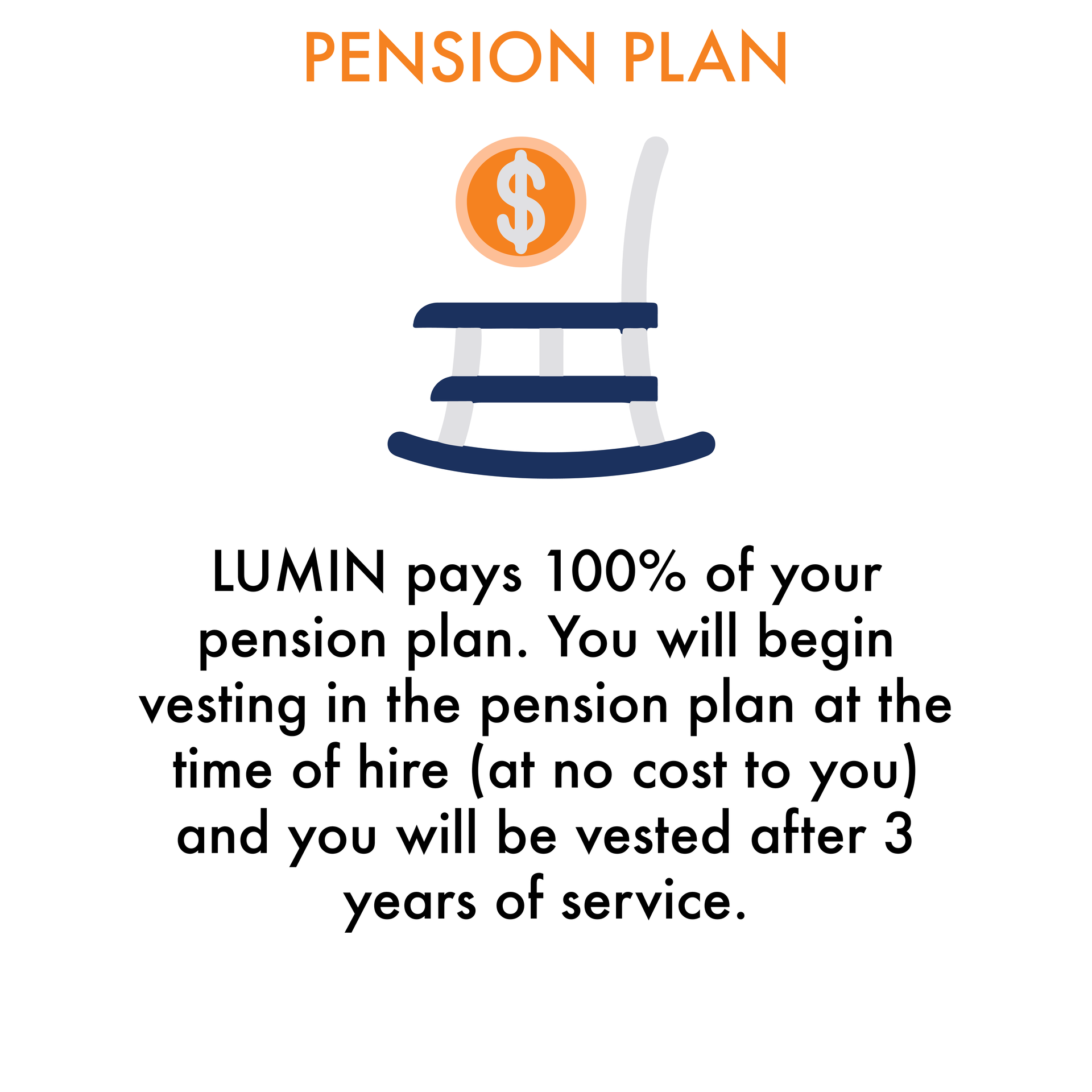 Pension Plan: LUMIN pays 100% of your pension plan. You will begin vesting in the pension plan at the time of hire (at no cost to you) and you will be vested after 3 years of service.