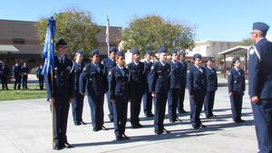 Formation under the command of Cadet John Pepper (sophomore, far right) perform the 30-step Drill Sequence for the inspection.