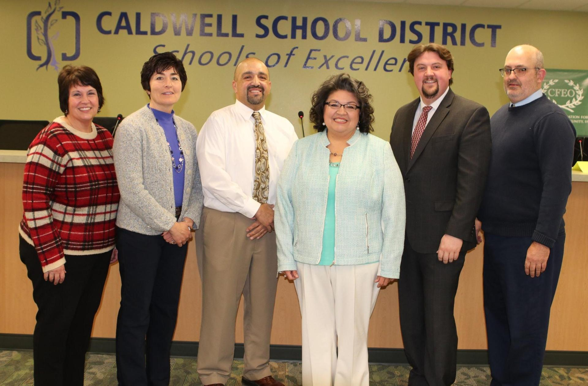 Trustee Marisela Pesina, center, was elected chairman, and Trustee Travis Manning, far right, was elected vice chairman.