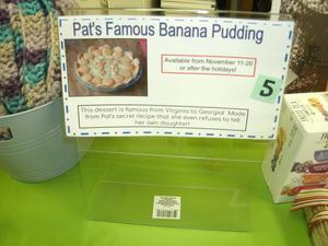 Banana pudding for United Way drawing.