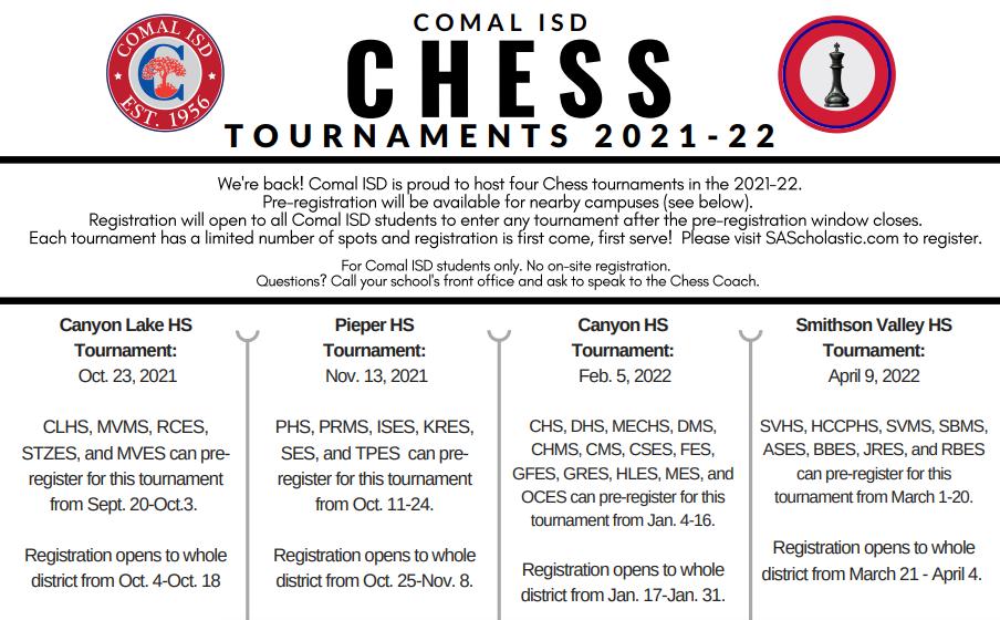 Chess Club Tournament Schedule