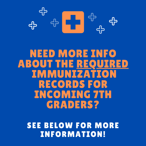 Information Regarding REQUIRED 7th Grade Immunization Records Thumbnail Image