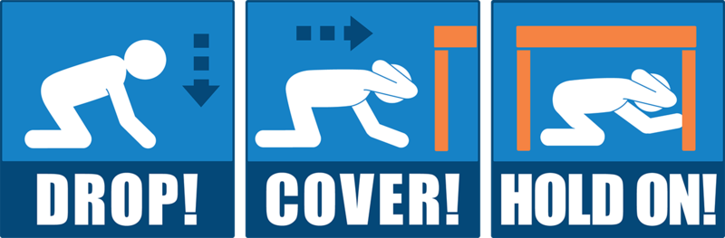 Earthquake drill-drop-cover-and hold