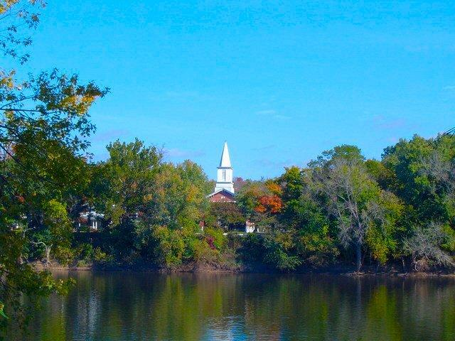 First Presbyterian Church of Titusville on the bank of the Delaware River