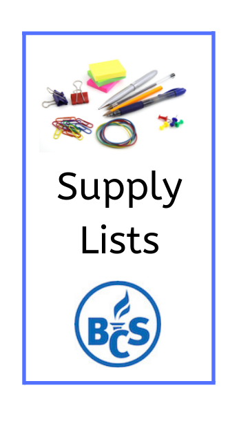 image showing school supplies and the text supply lists with the bloomfield logo