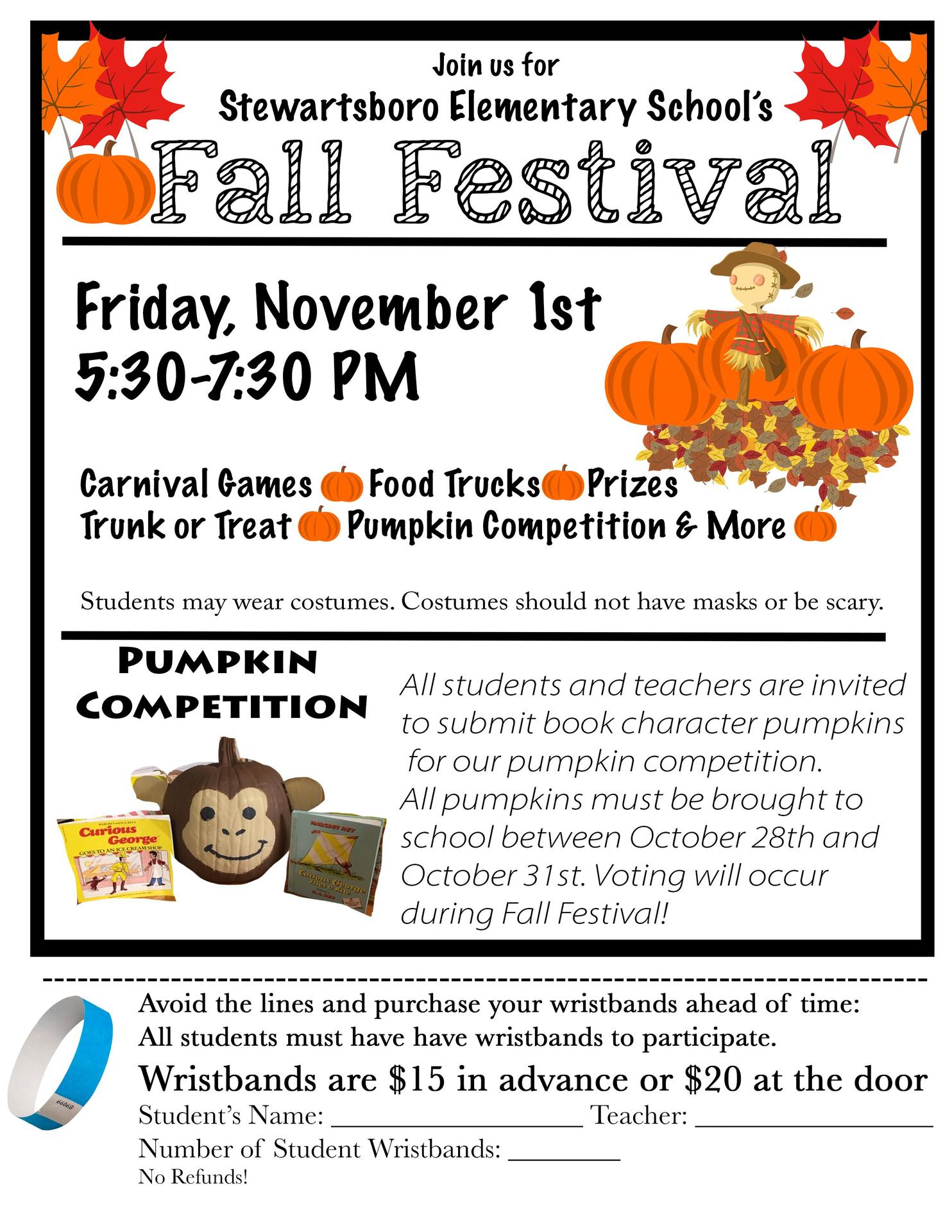 Fall festival 11/1 @ 5:30-7:30